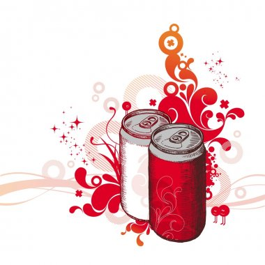 Hand-drawn cans with cola