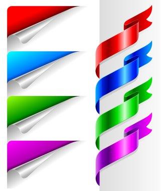 Colors bent paper corners and ribbon