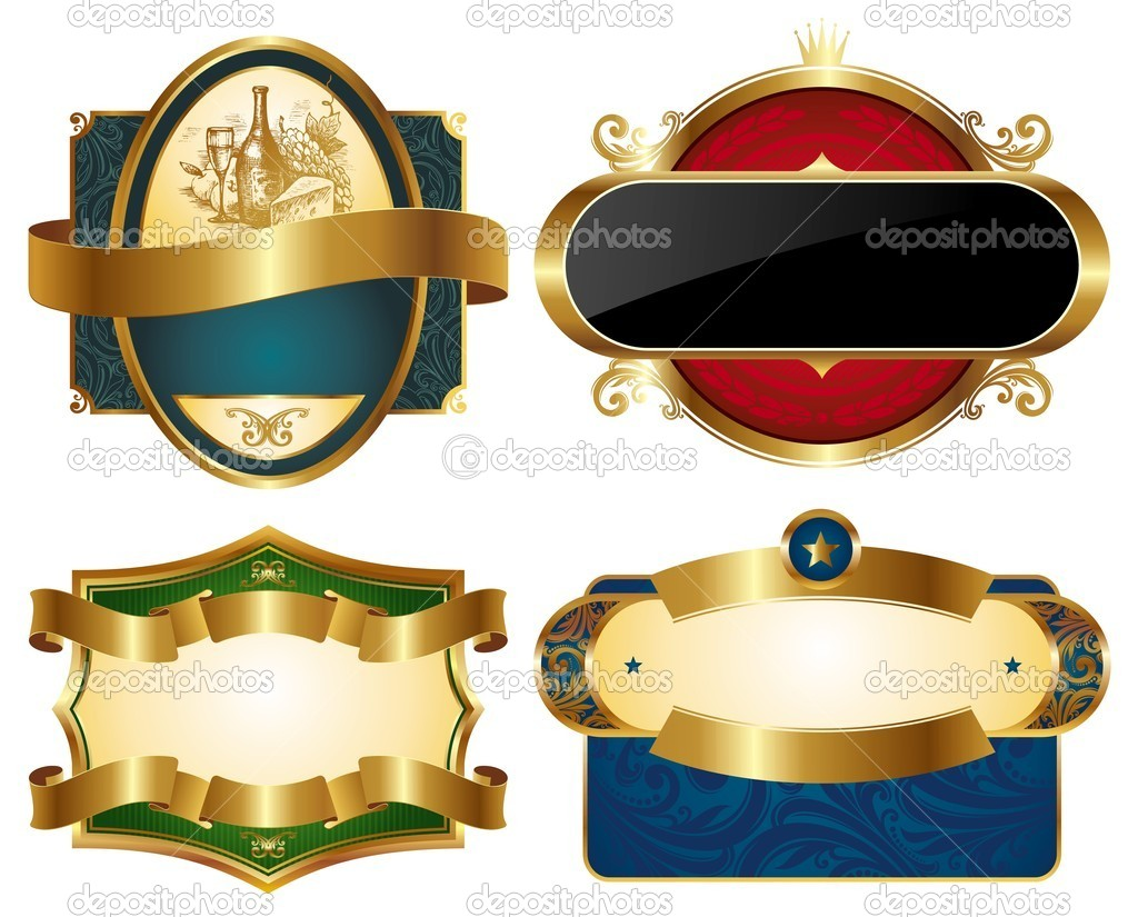 Collection Of Golden Ornate Labels Stock Vector 169 S E R