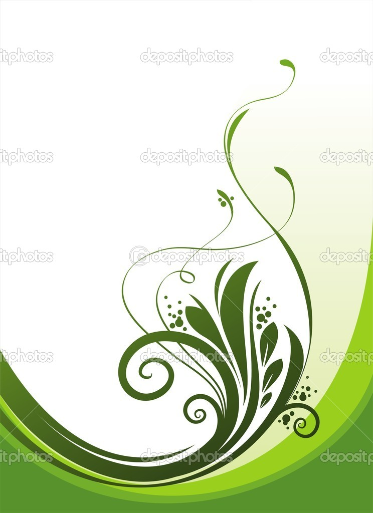 Vector ornate decorative floral branch