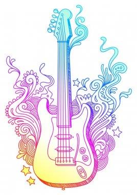 Hand drawn guitar & doodle