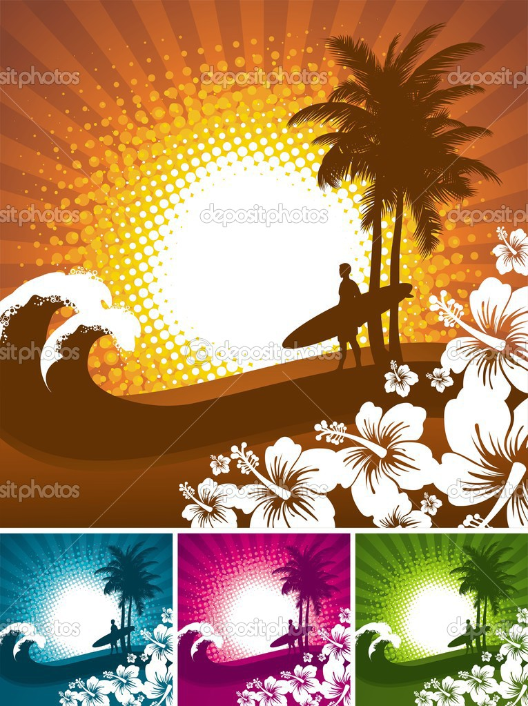Tropical nature & surfer silhouette