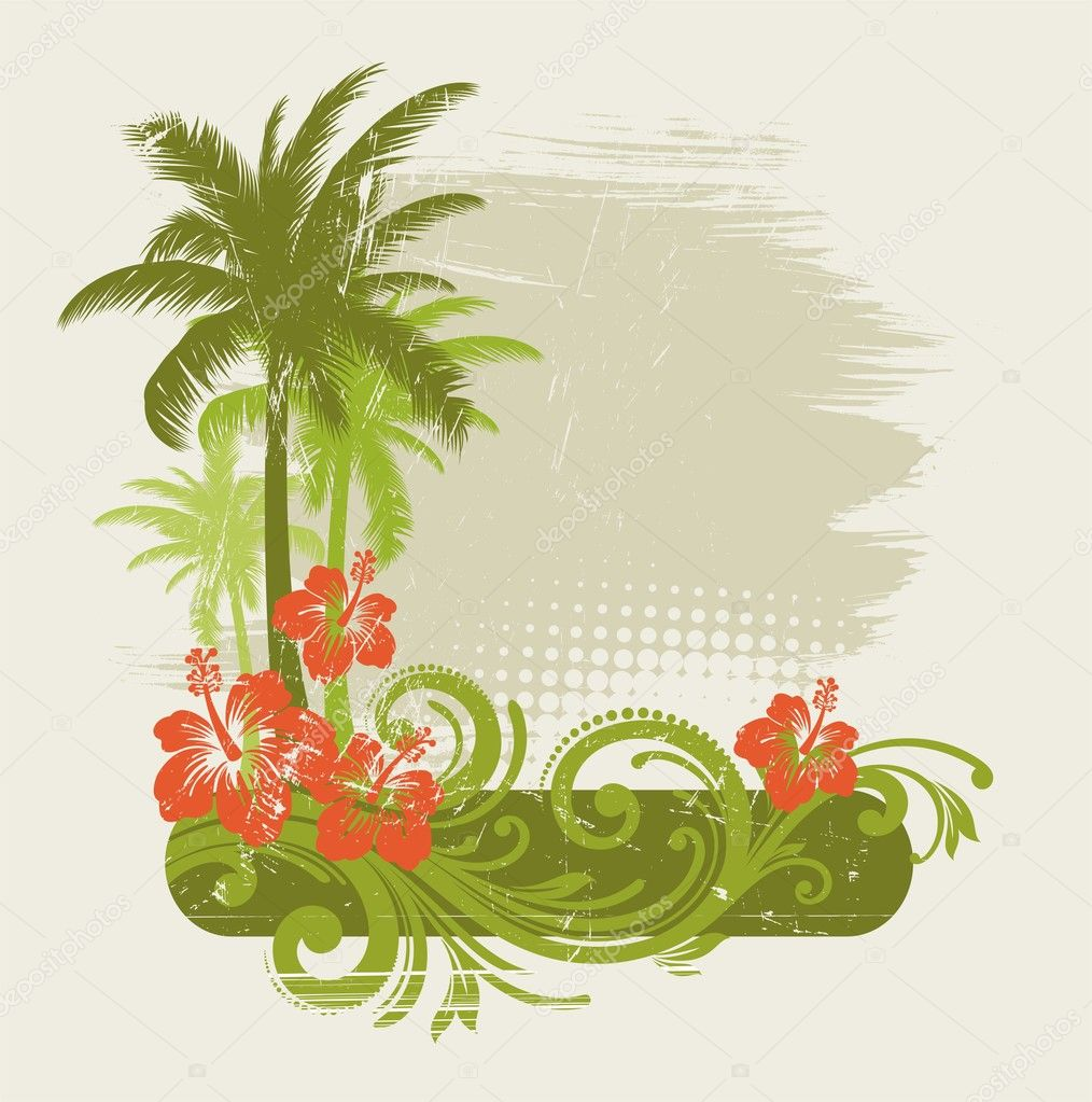 Hibiscus with ornament and palms