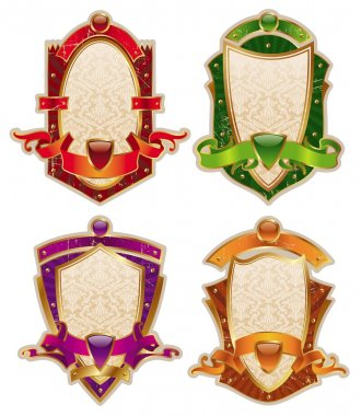 Heraldic shields with banners