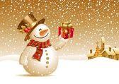 Fotografie sněhulák s dárkem pro vás