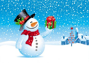 Christmas vector illustration - Snowman with gift for you