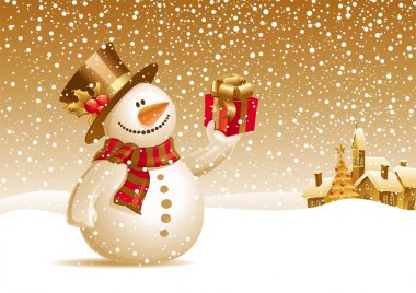 Snowman with gift for you stock vector