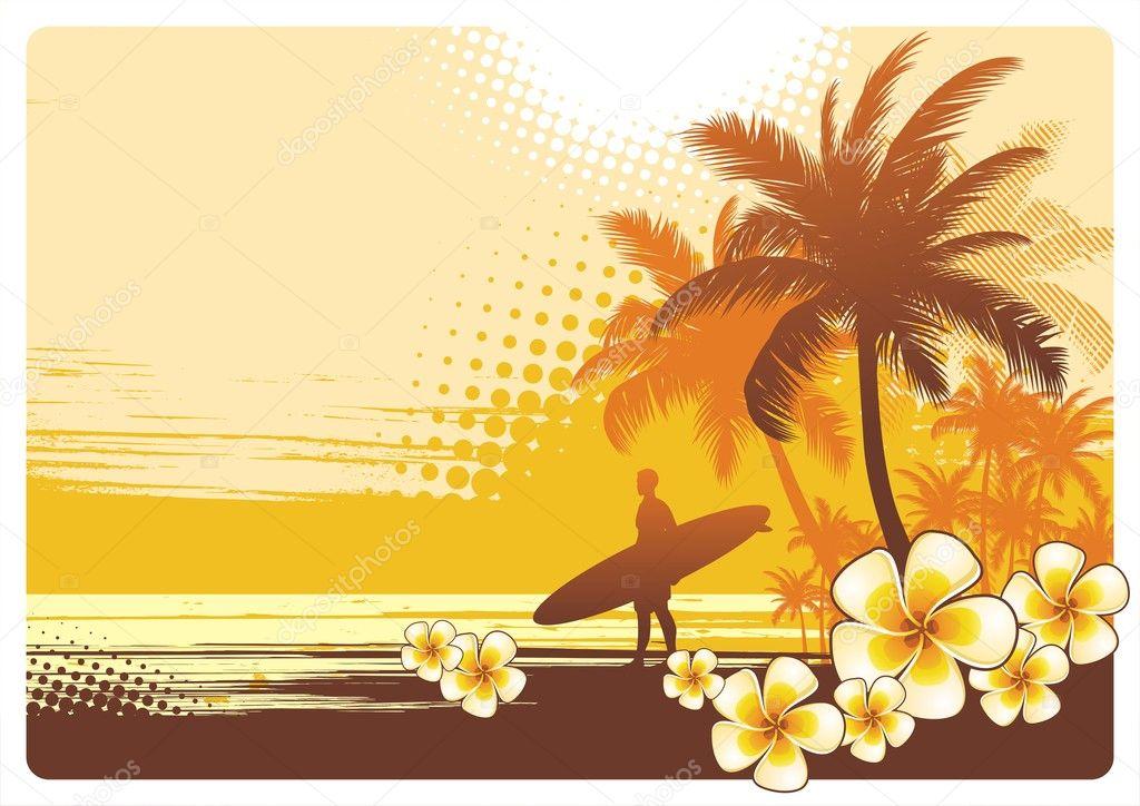 Surfer and tropical landscape