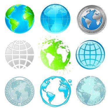Globe and Earth vector set