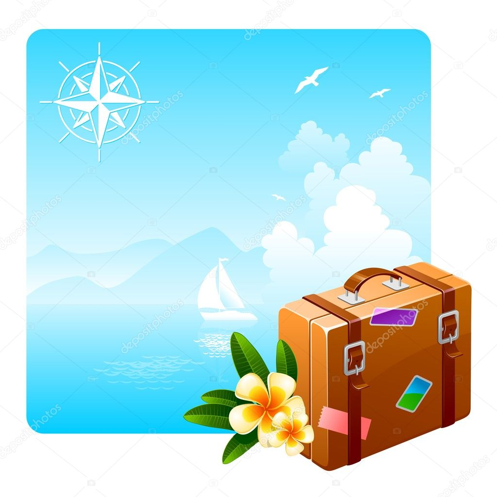 Travel suitcase & tropical flowers