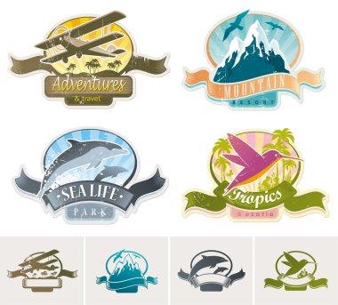 Landmarks, adventures & travel vintage label