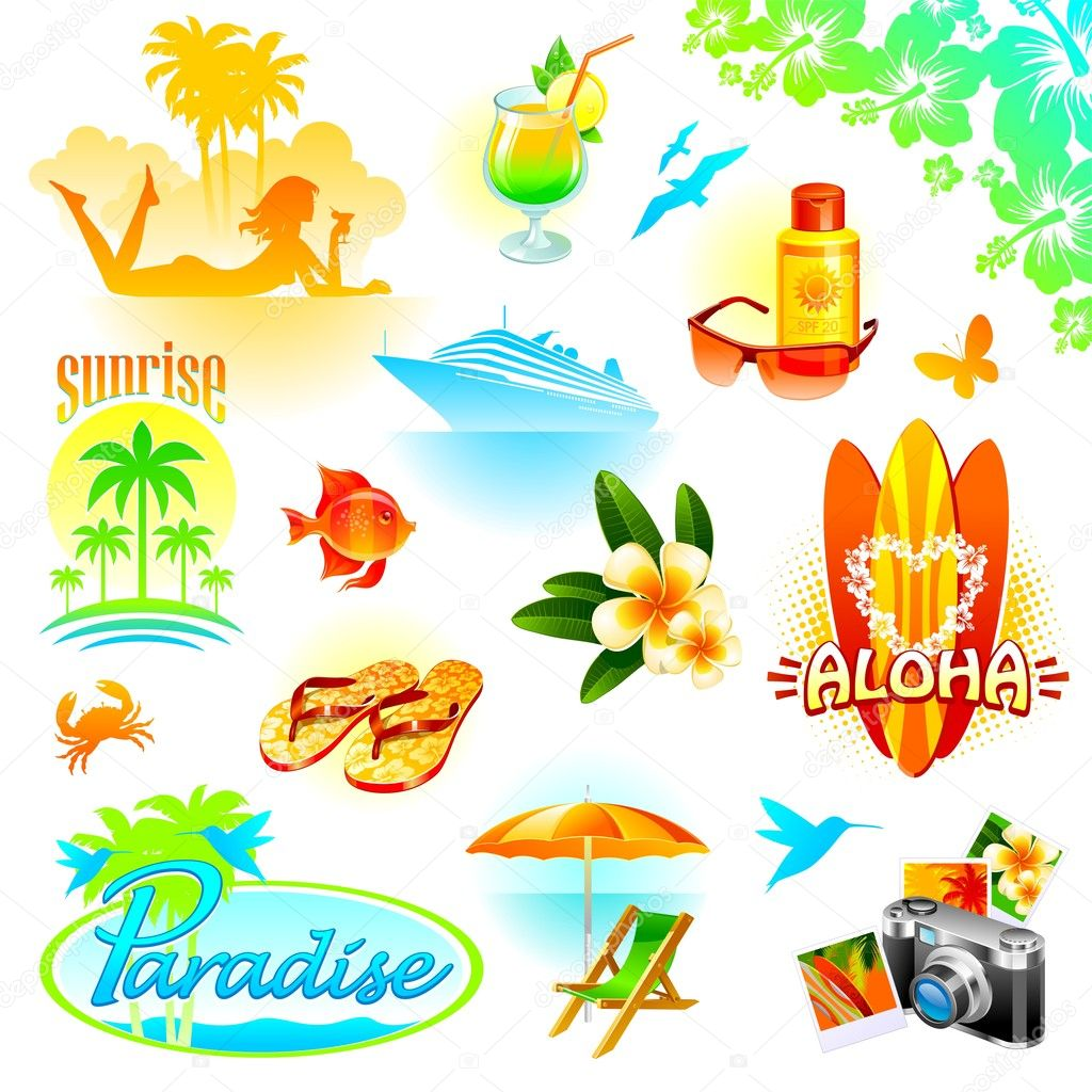 Tropical holidays vector set
