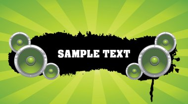 Grunge banner with speakers