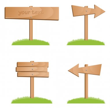 Vector wooden signs
