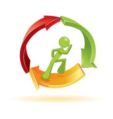 Man running in 3d vector symbol