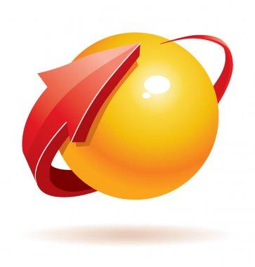3d vector sphere and arrow