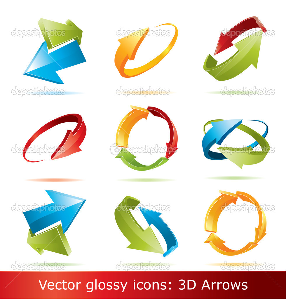 colorful 3d vector arrows set stock vector jakegfx 2298252 rh depositphotos com Flat 3D Arrows 3D Arrow Cycle