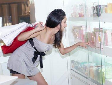 Woman chooses perfume