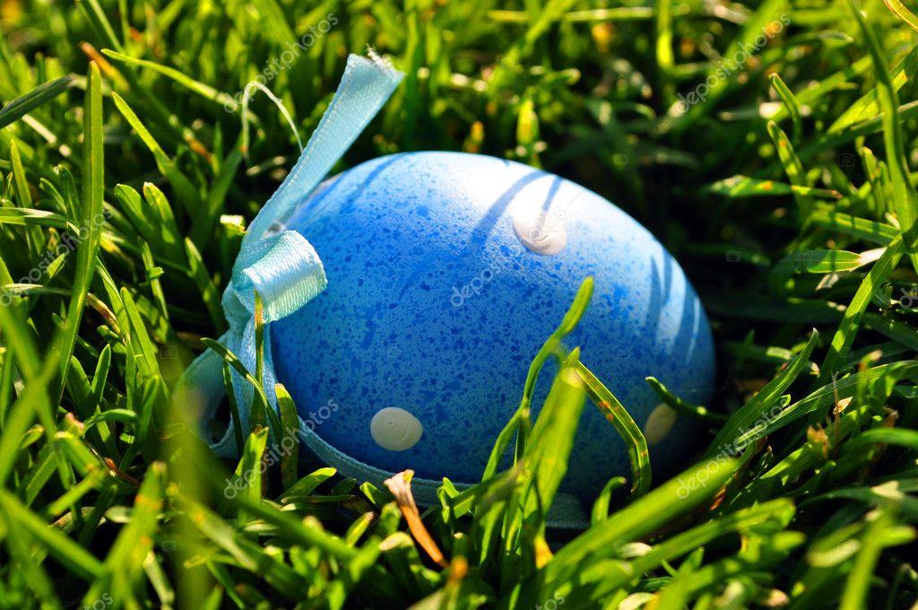 Blue Easter egg in spring grass
