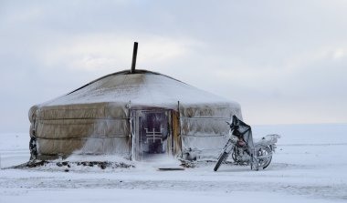 Yurt in mongolia with a motorbike