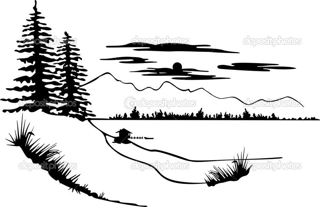 Beautiful Nature Scene — Stock Vector © RiazWork #1529515 Kids Camping Clip Art Black And White