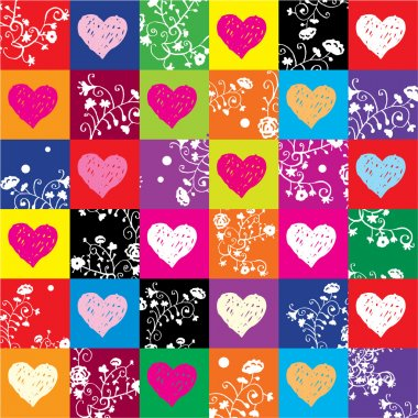 Vector pattern with hearts & flowers clip art vector