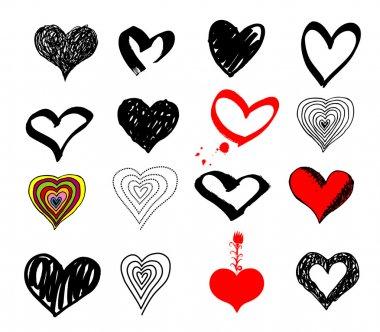 Valentines hearts set. Vector. Black & white, red, color clip art vector