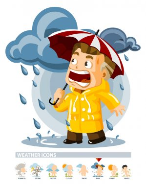 Rain. Weather Icon with illustration in Detailed Vector stock vector