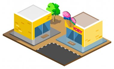 Ice Cream Shop Isometric