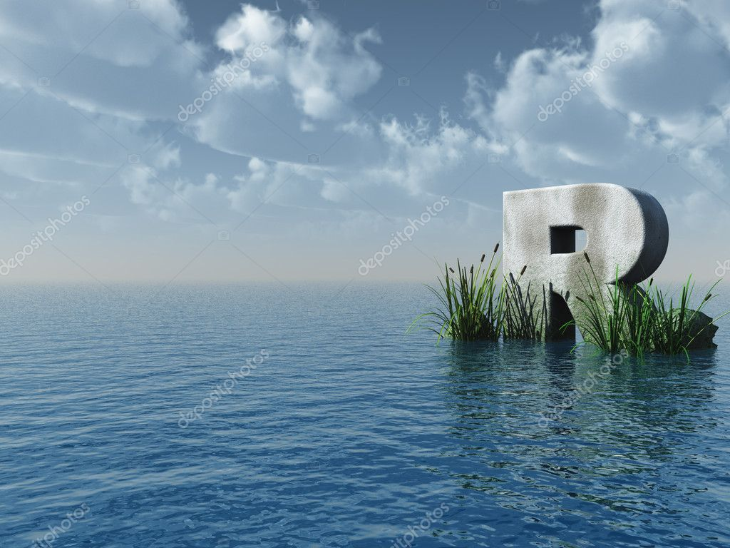 Letter r stock photo drizzd 1583672 letter r rock in water landscape 3d illustration photo by drizzd altavistaventures Gallery