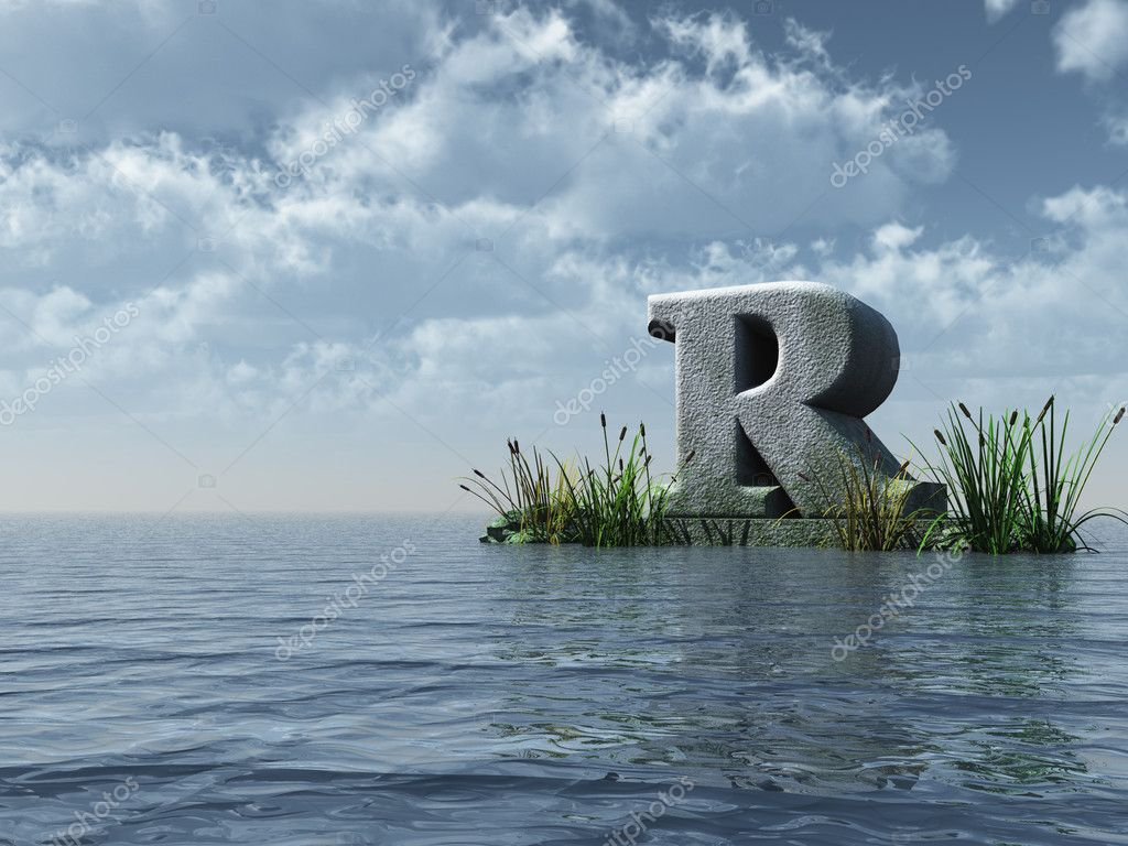 Letter r monument stock photo drizzd 1590712 letter r monument in water landscape 3d illustration photo by drizzd altavistaventures Gallery