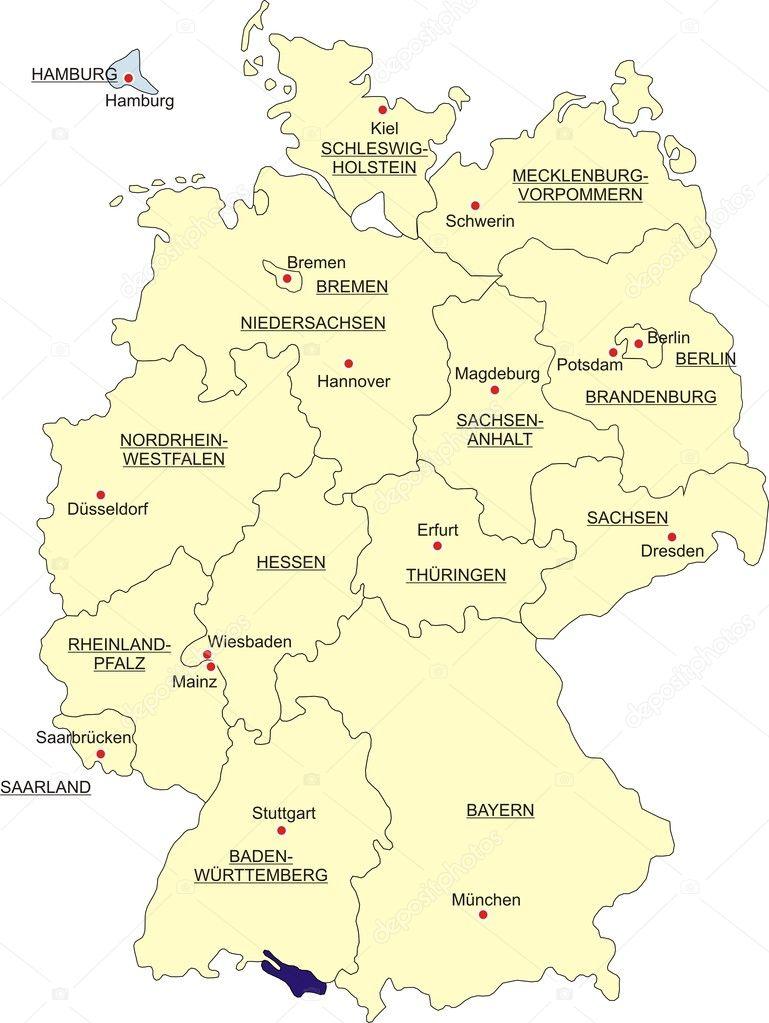 Bundesländer Hauptstädte Karte.Map Von Deutschland Stockvektor Toenne 1530311