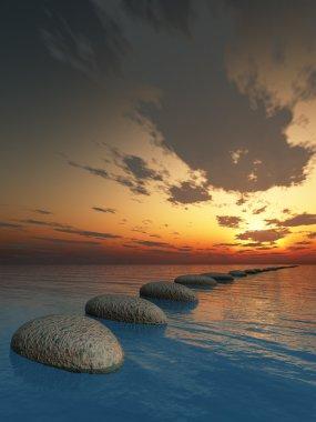 Rock in night sea