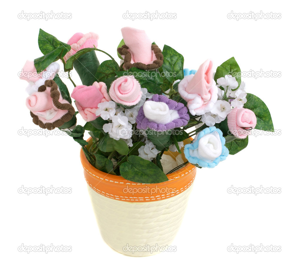 Baby sock flower pot stock photo deepspacedave 2241438 flowers comprised of baby socks grow from a flower pot photo by deepspacedave izmirmasajfo