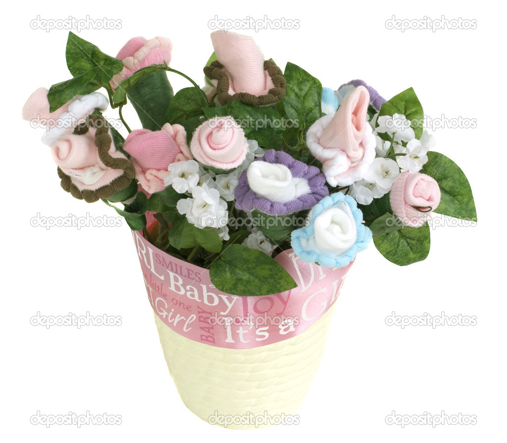 Baby sock flower pot pink ribbon stock photo deepspacedave 2241443 flowers comprised of baby socks grow from a flower pot wrapped with a ribbon photo by deepspacedave izmirmasajfo Images
