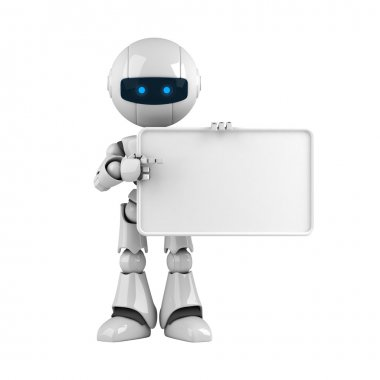 Funny robot stay with blank banner