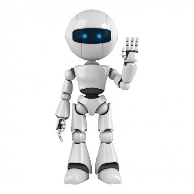 Funny robot stay and show hello