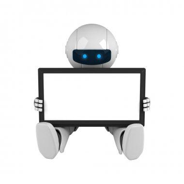Funny robot hold digital tablet computer