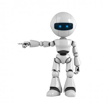 Funny robot stay and show from hand and fingers