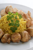 Pilau rice with grilled chicken