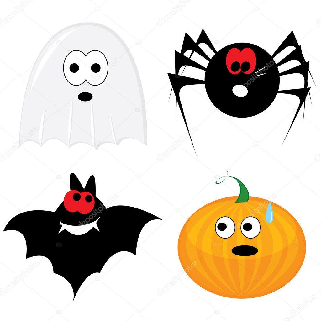 Cartoon halloween icon set