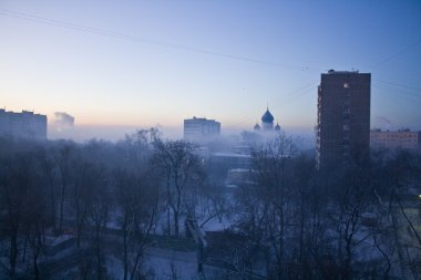 Moscow district in blue haze