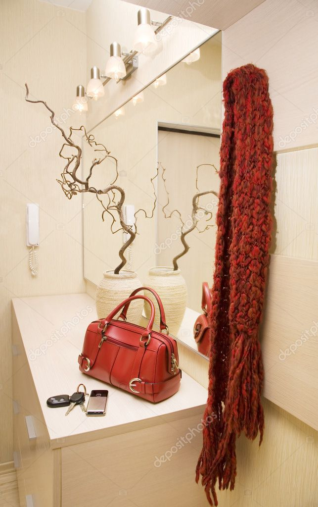 Hall furniture set with red handbag and scarf
