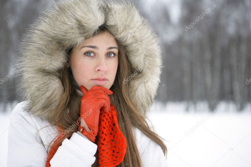 Lost in thought a girl in winter