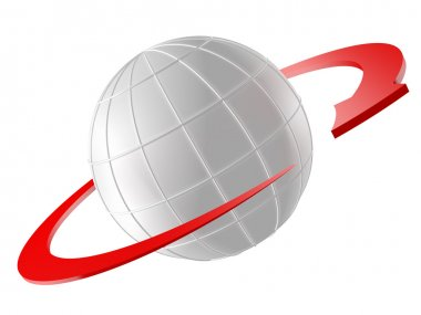 3D rendered Globe with red arrow