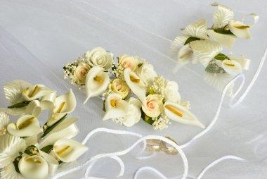 Wedding flowers over veil