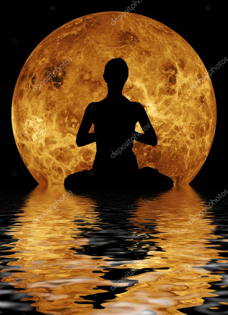 Yoga on moon and water background
