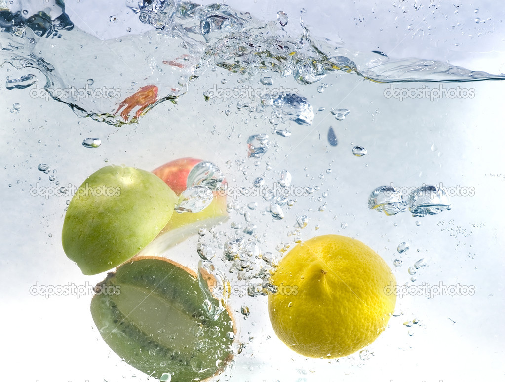 Fresh water drops on fruits isolated
