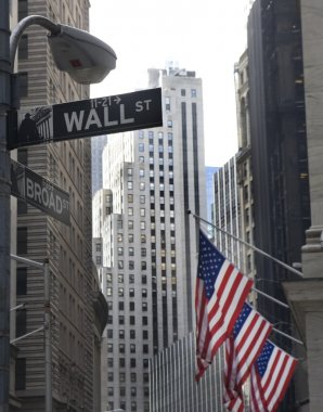 Wall street and broadway street signs
