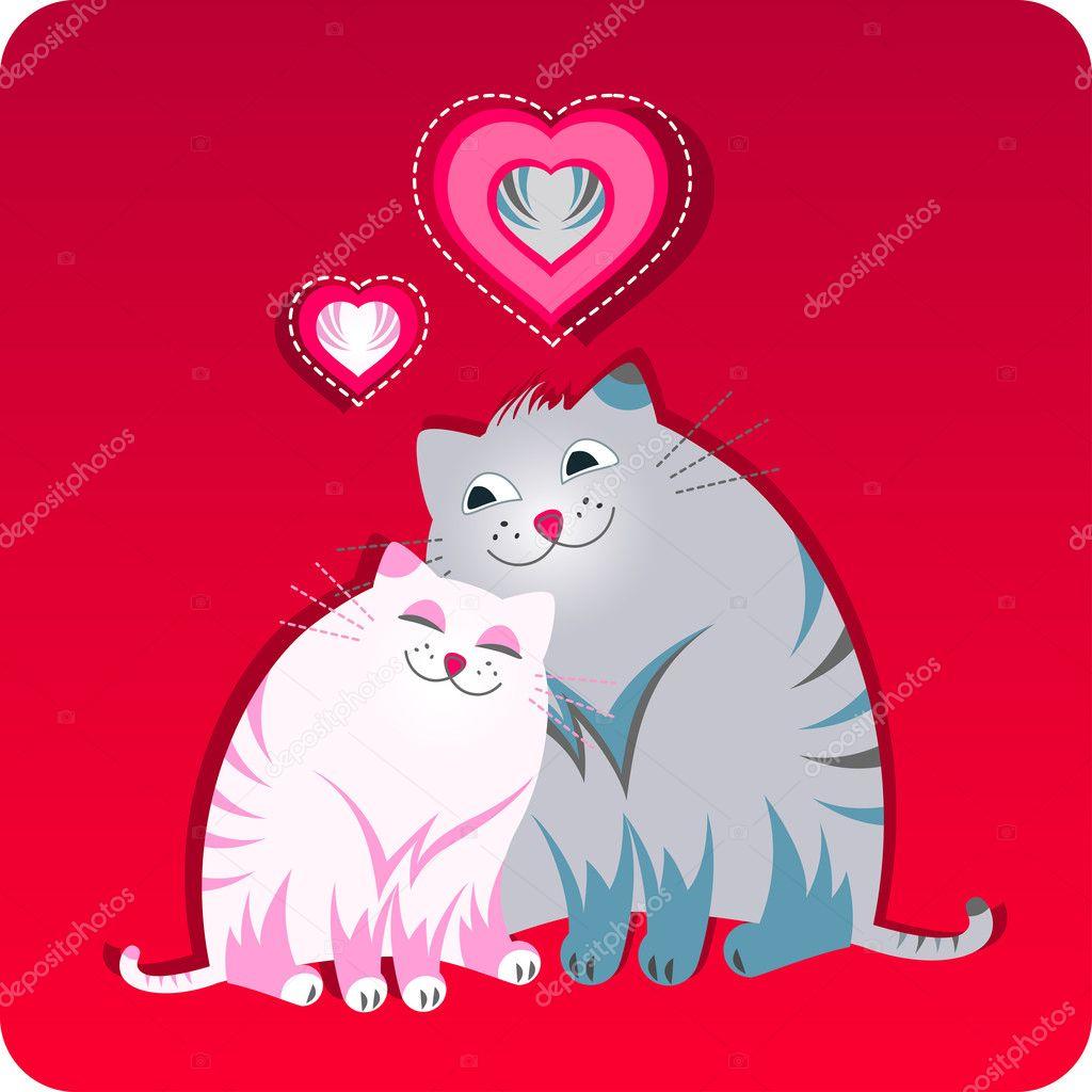 Открытки кошки с днем святого валентина, день рождения